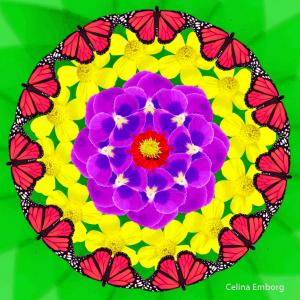mandala con flores y mariposas